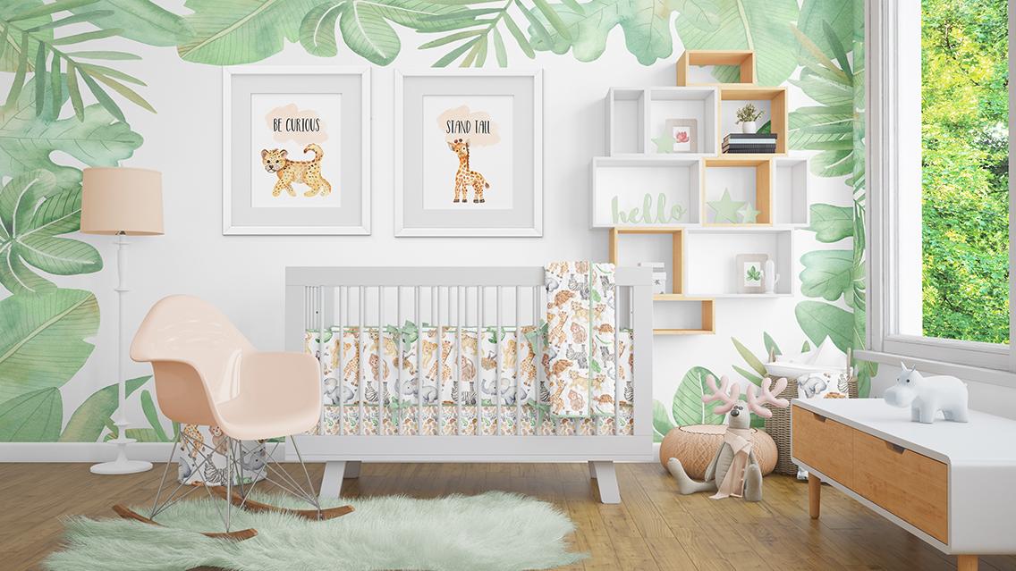 baby boys and girls animals cute nursery wall art
