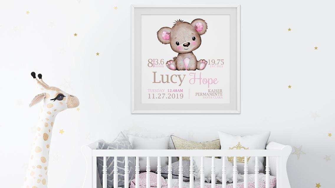 cute personalised bear wall art print baby nursery details