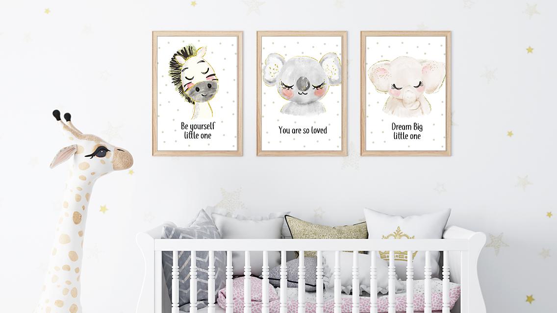 baby boys and girls animals koala zebra elephant cute nursery wall art