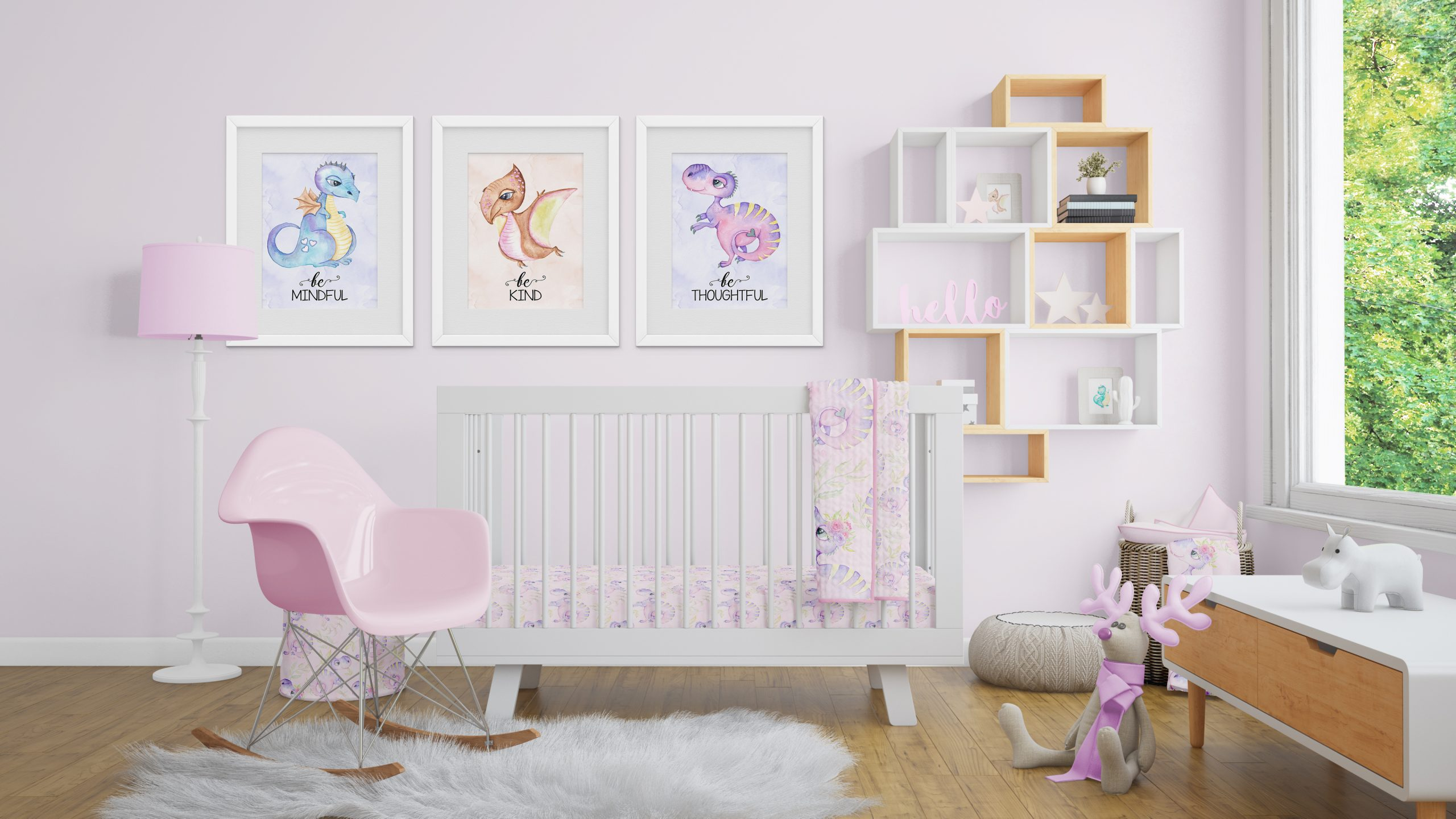 girls dinosaur wall art baby nursery