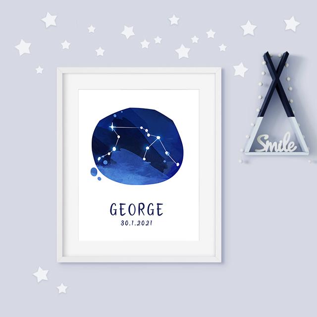 Aquarius zodiac constellation baby birth print