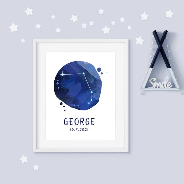 Aries zodiac constellation baby birth print