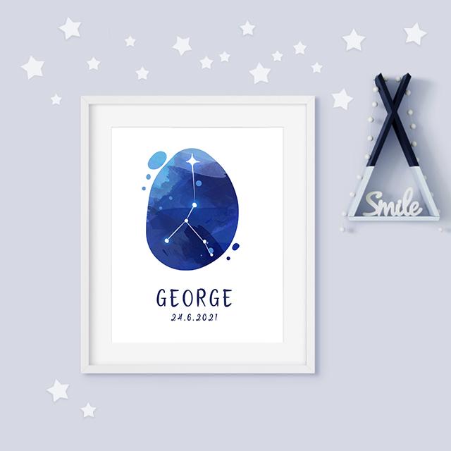 Cancer zodiac constellation baby birth print