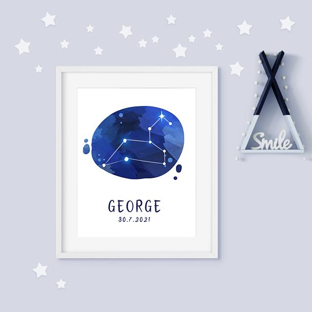 Leo zodiac constellation baby birth print