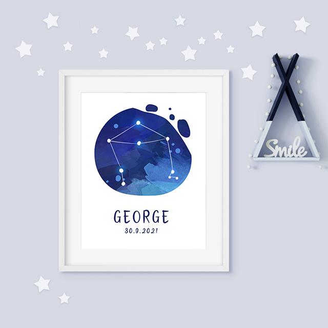 Libra zodiac constellation baby birth print