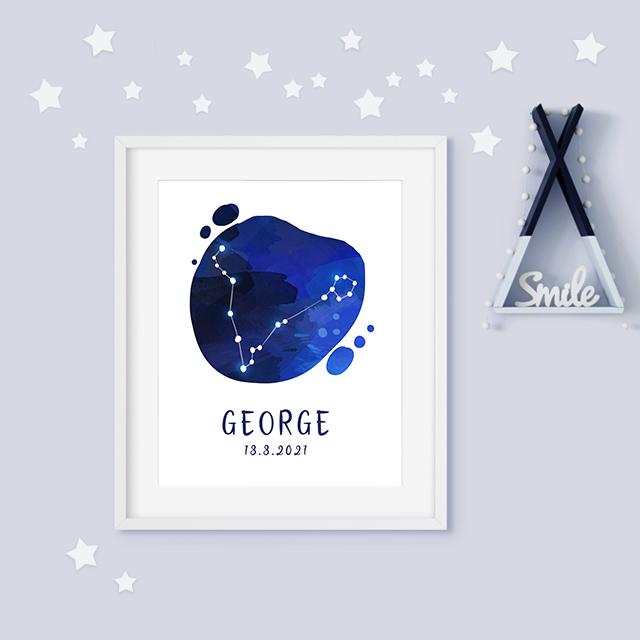 Pisces zodiac constellation baby birth print