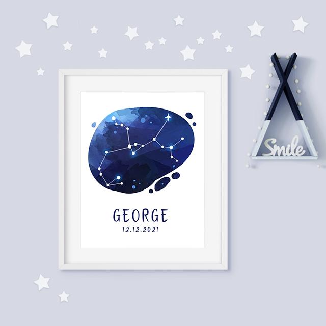 Sagittarius zodiac constellation baby birth print