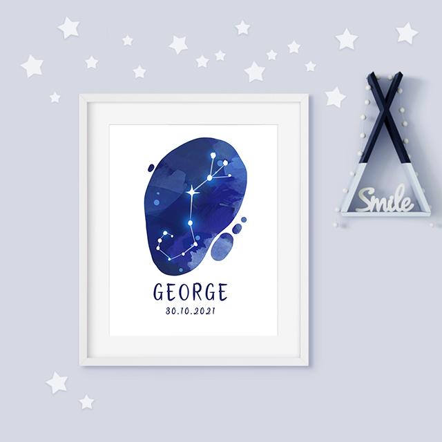 Scorpio zodiac constellation baby birth print