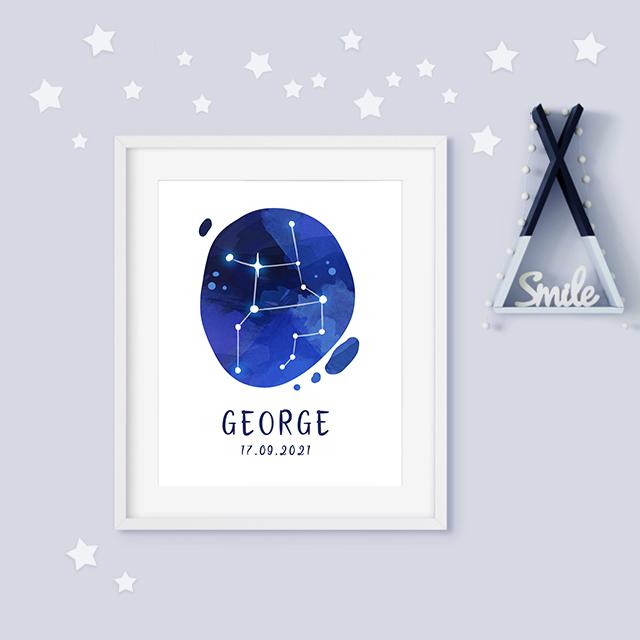 Virgo zodiac constellation baby birth print